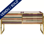Ref : M253 - Italian commode - brass and tinted glass - SOLD