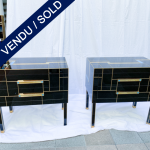 Ref : M255 - Pair of bedside in tinted glass - signed - exclusive model for Justine - SOLD