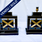 Ref : LL375 - Pair of lamps in tinted glass exclusive model for Justine - SOLD