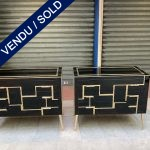 Ref : M264 - Pair of dressers in black stained glass