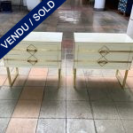 Ref : M266 - Pair of bedside in white tinted glass and brass