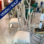 Ref : MC775 - Pair of chairs in teak wood and cream coton SOLD