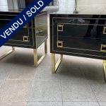 Ref : M273 - Pair of italian chest - Tinted glass and brass