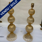Ref : LL383 - Pair of lamps in Murano signed Toso - SOLD