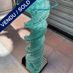 Ref : MT983 - Twisted glass pedestal-table