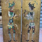 Ref : ADT027 - Ref : ADT027 - Diptych on wood panel, Lyre players