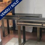 Ref : CL25 - Pair of tinted glass consoles , 2 drawers - SOLD