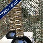 """Ref : LL390 - Paire de lampes en verre de murano et miroir signé """"Toso"""""""