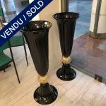 Ref : V336 - Paire de vases en verre de Murano - VENDU