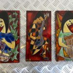 Ref : ADT030 - 3 enamel plates with women - French work