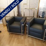 Ref : MC781 - Pair of LC2 chair in leather