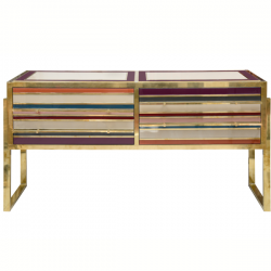 Ref : M253 - Italian commode - brass and tinted glass