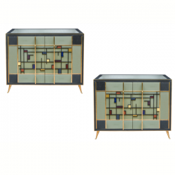 Ref : M251 - Set of 2 buffets in tinted glass