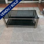 Ref : MT964 - Coffee Table with 2 grey smoked glass boards and chrome border