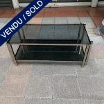 Ref : MT964 - Table basse avec deux plateaux verre fumé gris entourage chrome
