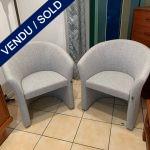 Ref : MC766 - Paire de fauteuils par Harmony - Jersey gris - VENDU