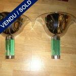 Paire d'appliques métal et verre vert - VENDU