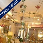 Ref : L15  - Un lustre en fer et boule de verre . 12 branches . - VENDU