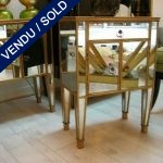 Set of 2 nightstands in metal and mirror - SOLD