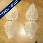 Paire double feuille en verre de Murano - VENDU