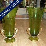 Paire de vases en verre de Murano 2 anses en métal - VENDU