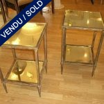 A set of pedestal tables mirror and metal - SOLD