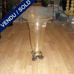 Vase verre de Murano doré pied tripode - VENDU