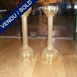 Set of candlesticks in gilded glass of Murano - SOLD