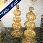 "Gilded glass of Murano 3 spheres ""Signed by TOSO"" - SOLD"