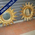 Paire de mirroirs soleil entourage bois - VENDU