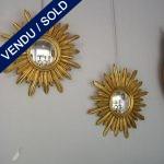 1 paire de miroirs soleil sur bois - VENDU