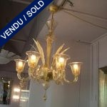 Gilded glass of Murano 6 branches - SOLD