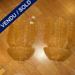 Set of four Murano gifted sconces 3 leaves - SOLD
