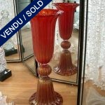 "Set of red and gold vases of Murano signed by ""TOSO"" - SOLD"