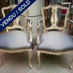 Paire de fauteuils recouverts Louis XV - VENDU