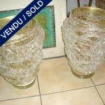 Paire de vases Murano doré et transparent - VENDU