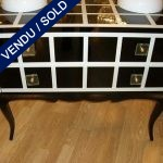Set of commodes in black and white glass - SOLD