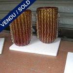2 vases Murano rouge et or - VENDU