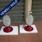Set of Murano lamps Rock crystal Red ground - SOLD