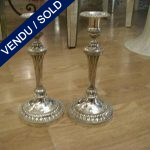 Pair of bronze candlesticks silver - SOLD