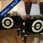 Set of buffets 2 gates in mirror black and beige - SOLD