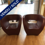 Ref : MC367 - Pair of chair in leather cuir modèle Victoria de Ron Arad . Circa 2000 - SOLD