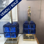 Ref :LL 362 - Pair of table lamps in Murano glass - SOLD