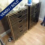 Set of commodes in black glass 5 drawers - SOLD