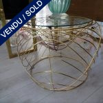 "Ref : MT943 - Table ronde métal doré ""SMANIA"" - VENDU"