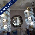Ref : L915  - Set of chandeliers brass, Murano, opaline - SOLD
