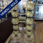 Ref : LL223  - Pair of lamps with 5 golden globes - SOLD