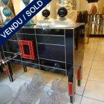Ref : M212  - Paire commodes verre teinté signé J. Martin - VENDU