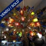 Ref : L929  - Murano multicolor / laiton - VENDU