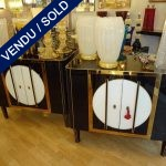 Set of commodes in black and white opaline - SOLD